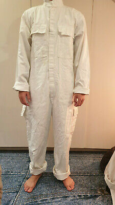 Vintage surplus workwear overalls all in one unisex white m/ s 100 % cotton