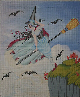 Brenda Stofft Handpainted Needlepoint Canvas  Ready For Take Off  Witch   $242