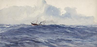 SHIPS OFF THE BAY OF BISCAY Small Antique Watercolour Painting - 19TH CENTURY
