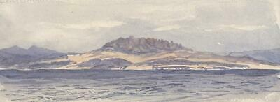 ENTRANCE TO THE MEDITERRANEAN Small Antique Watercolour Painting - 19TH CENTURY