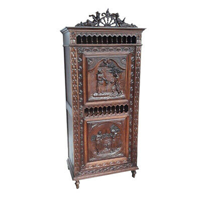 Antique French Breton Cabinet, Narrow With Single Door, Turn Of Century, Oak