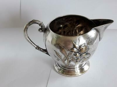 WMF ANTIQUE ART NOUVEAU SILVER PLATE MILK JUG PITCHER with FLOWERS