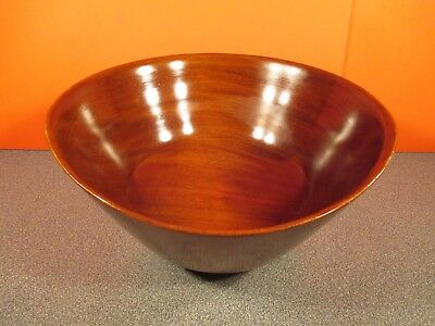"""ANTIQUE GENUINE MAHOGANY BOWL w/t STERLING SILVER BASE 11 3/4 dia. 6 """"tall"""