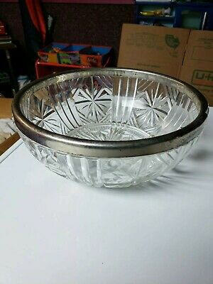 Crystal cut Glass Bowl With Metal Rim