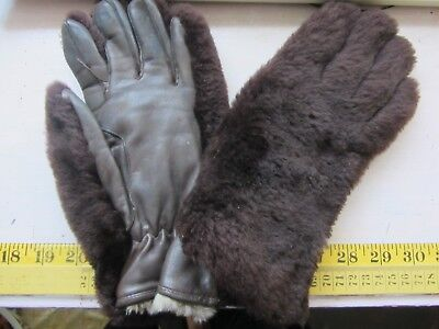 Dents Vintage Ladies Leather & Faux Fur Thick Chocolate Coloured Gloves