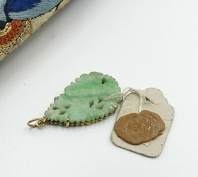 Antique Chinese gold plate sterling silver & carved jade pendant