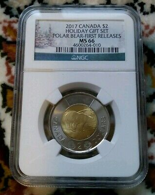 2017 Canada Ngc First Releases Ms 66 Holiday Gift Set Polar Bear Toonie $2  Rare