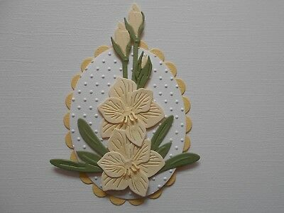 Die cuts - Embossed Hippeastrum - Assembled  Flowers Card Toppers Mats (6)