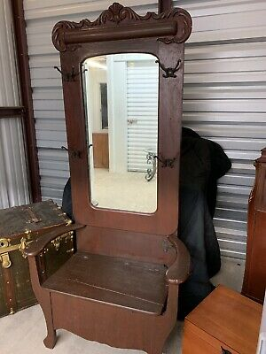 Victorian Antique Carved Ornate hall tree Coat rack stand with seat & mirror