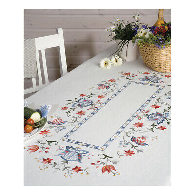ANCHOR | Embroidery Kit: Folklore - Large Linen Tablecloth | 92400007132