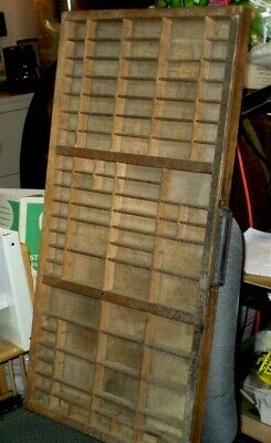 Antique PRINTERS TRAY TYPE SET DRAWER Shadow Box 16.5 x 32 Divided Trays