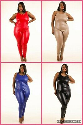 Plus Size Sleeveless Wet Look Faux Leather PU Tank Catsuit Jumpsuit 1X 2X 3X