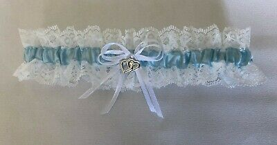 Wedding Garter  -  White/Lace/Blue - Small, Medium Or Large