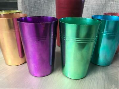 OLD VINTAGE RETRO 60 70s ANODISED PICNIC CUPS HARLEQUIN PARTY BEAKER HOT RAT ROD