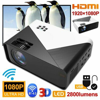 HD 1080P Portable Mini Video Projector Wifi Bluetooth Android Home Theatre HDMI