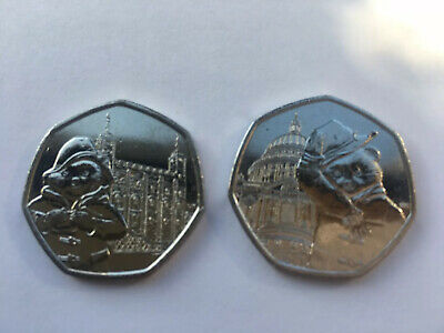 Set Of 2 Paddington Bear At St Pauls And The Tower 50P Uncirculated Coins 2019