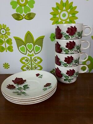 Vintage 50's Brexton Picnic Set Spares 4 China Cups and Saucers Red Rose 7969 (4