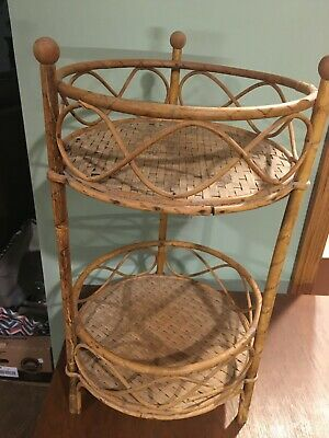 Antique Wicker / Rattan / Two Tier Stand  Or Shelf / 20 Inches Tall