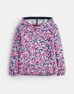 Bnwt Joules Girls Pink Floral Hoodie Hooded Pullover Sweatshirt Top 9-10 £27.95