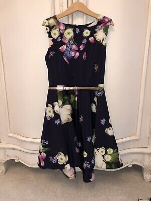 Ln Ted Baker Girls Navy Blue Floral Party Dress Age 10