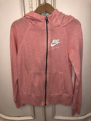 Ln Girls Pale Pink/Coral Nike Hoodie Hooded Lightweight Top Age 8-10 Size Small