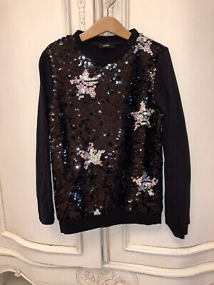 Ln George Asda Girls Black Silver Sequin Star Christmas Xmas Jumper 9-10
