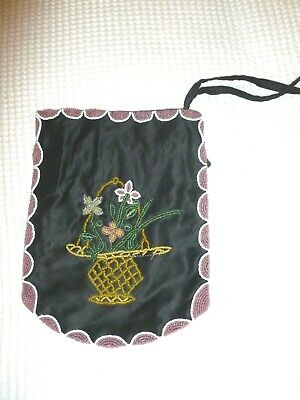 A Victorian antique hand-stitched beadwork embroidery draw string bag black