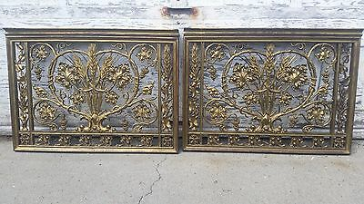2 Antique Ornate Solid Cast Brass Gates Luxury Architecture & 8 Column Balusters