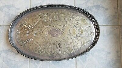 "Vintage Silver Plate Oval 22"" Tray Chased Alpha Viners of Sheffield claw feet"