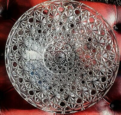 Beautiful French Crystal Pressed Glass Bowl / Plate Round Art Glass Art Deco