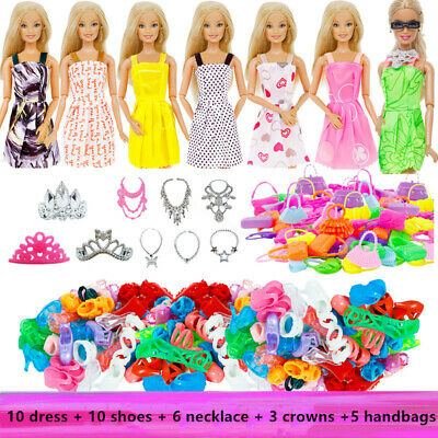 Barbie Doll Clothes Accessories Skirt Dress Shoes Crowns Necklace Handbags Kit