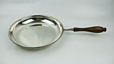 Vintage PM Italy Silverplate Flambe Pan Wooden handle