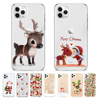 Samsung Galaxy S10 S9 S8 Plus S7 Clear Soft Silicone Case Christmas Santa Cover
