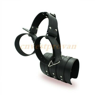 Black Pu Leather Armbinder Restraints Wrist Body Harness Lockable Handcuffs Set
