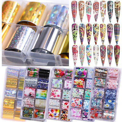 Holographic Flower Nail Foils Decal Nail Art Transfer Stickers Decoration Tips H