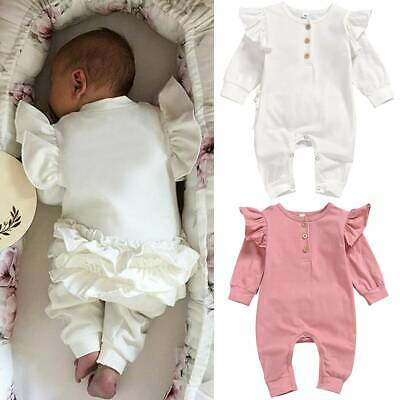 Infant Newborn Baby Girl Ruffled Button Romper Jumpsuit Babygrow Outfit Clothes