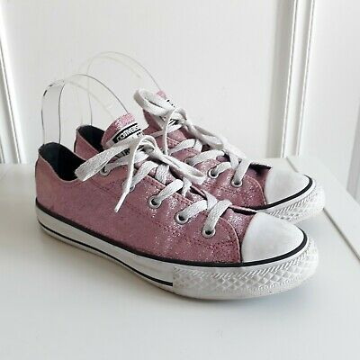Womens / Girls CONVERSE pink glitter sparkly trainers Sz UK 3 / EU 35.5