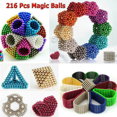 216pcs Balls Magic Beads Sphere Toy 3D Puzzle Ball 3/5mm Sphere Beads  DIY Cube
