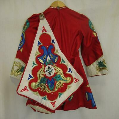 Girl's Irish Dancing Dress Red Embroidered Cape Tailor Made Ireland Est 8-9 yrs