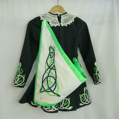 Girl's Irish Dancing Dress Green Embroidered Tailor Made in Ireland Est. 7-9yrs