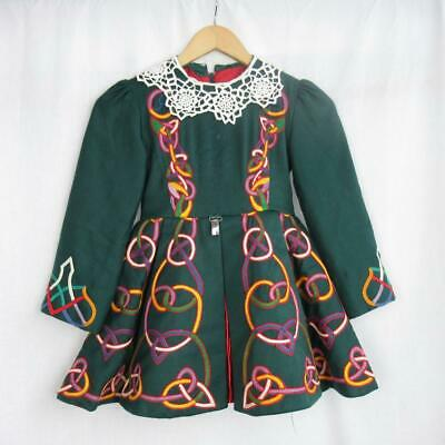 Girl's Irish Dancing Dress Green Embroidered Lace Tailor Made Ireland Est 7-8yrs