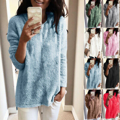 Women Autumn Casual Pullover Loose Sweater Long Sleeve Jumper Tops Tunic Coat