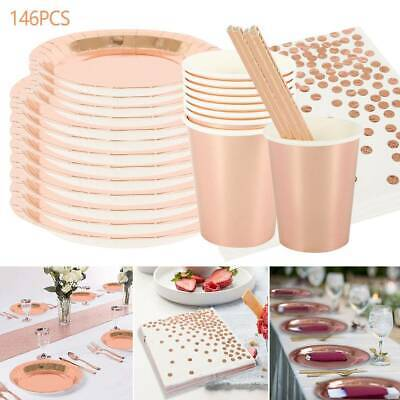 146pcs Rose Gold Foil Paper Plates Party Birthday Wedding Disposable Tableware