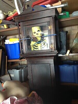 Antique Grandfather Clock Case With Rubber Skeleton Inside.