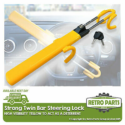 Heavy Duty Steering Wheel Lock for Ssangyong. Twin Bar High Security Hi-Vis