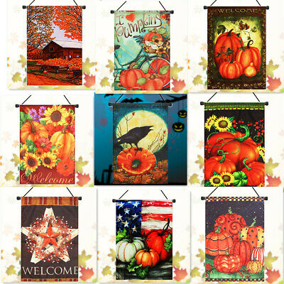 Flag Banner Decor Pumpkin Halloween Thanksgiving Welcome Party Fall Home  🔥 ❤