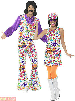 Mens Ladies 60s 70s Hippie Fancy Dress Adult Groovy Hippy Flares Couples Costume