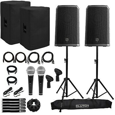 """Electro-Voice ZLX-12BT 12"""" Powered Bluetooth DJ PA Speakers+Stands+Covers+Cables"""