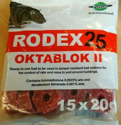 Rodex25 Oktablok II Rat & Mice Poison - Strongest Avaliable Online, 300g Sachet