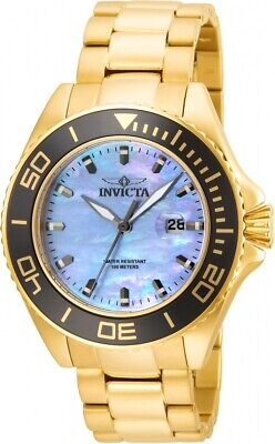 Invicta Men's 23071 Scuba Pro-Diver Watch Gold Tone Mother Of Pearl Oyster Dial